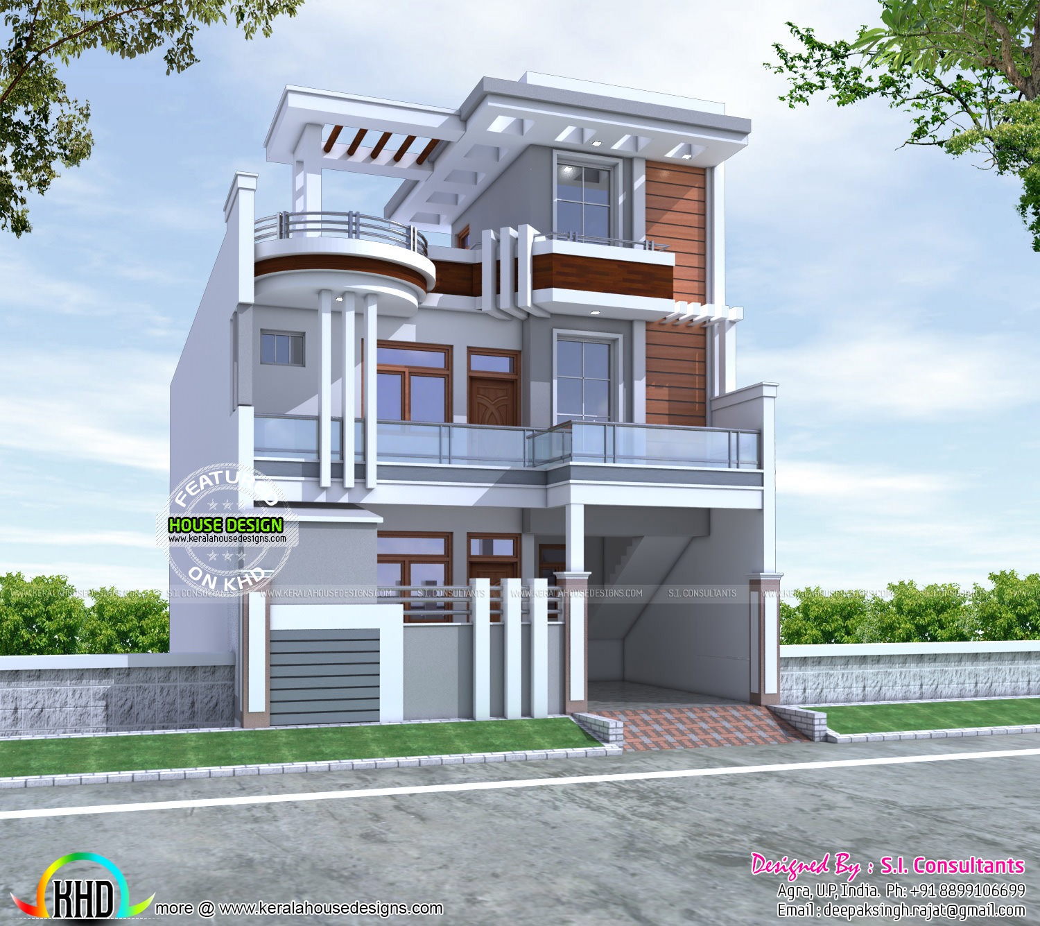 Feet Front Home Elevation : Sq ft cute decorative contemporary home kerala