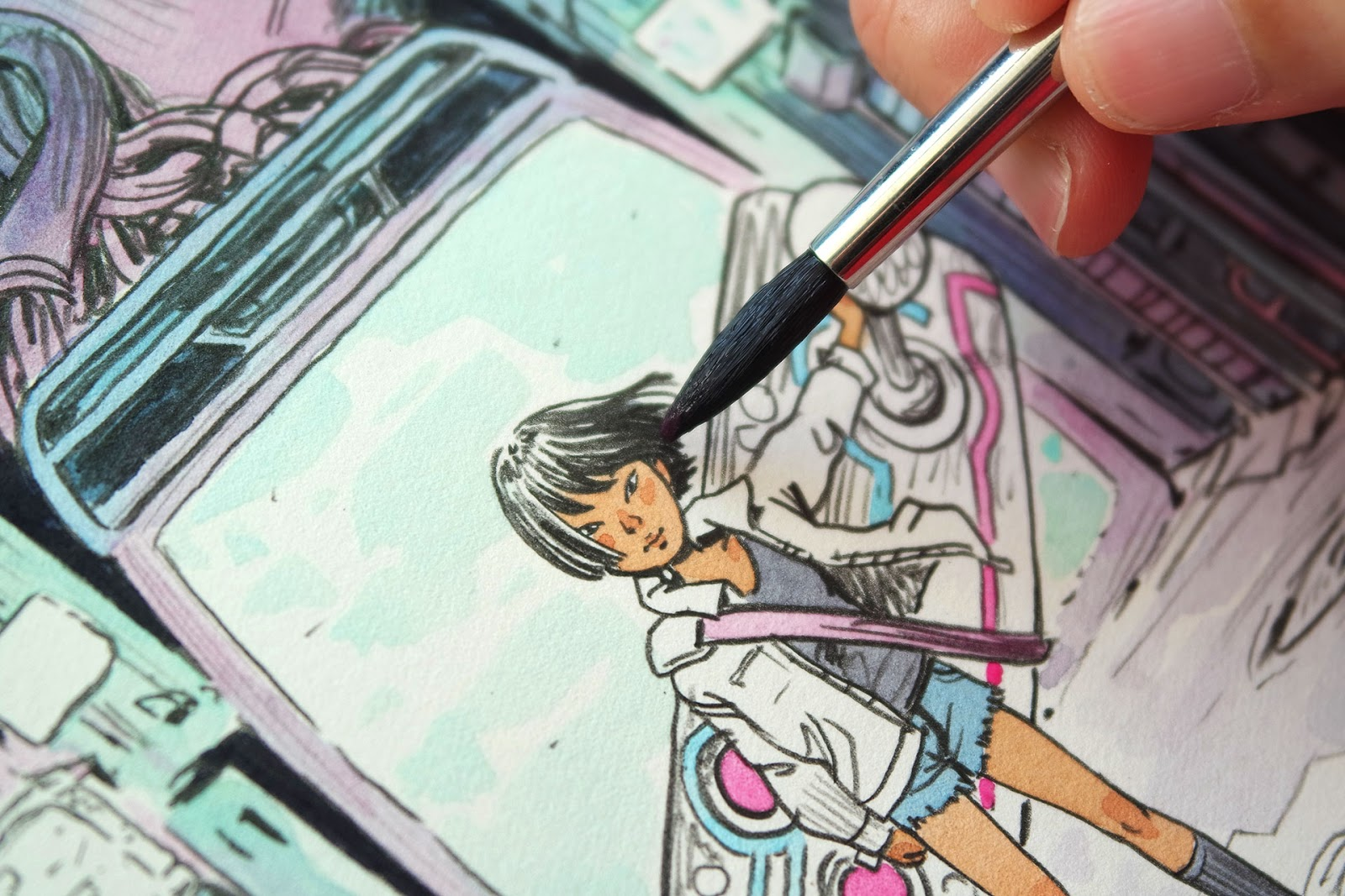 Detail from the illustration being coloured