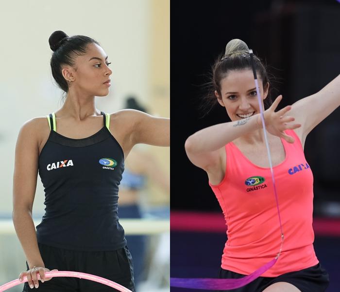 Barbara Domingos e Natalia Gaúdio treinando