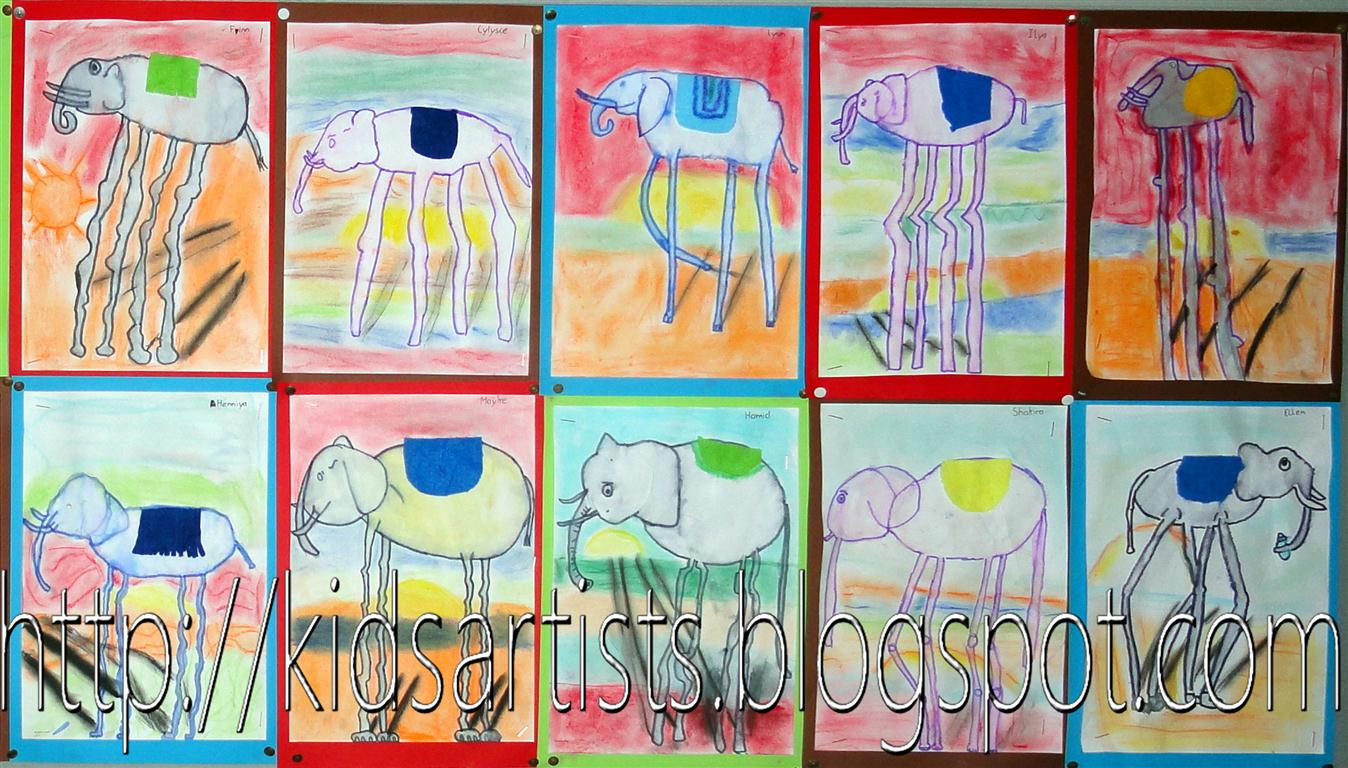 Kids Artists High Legged Elephant In The Style Of
