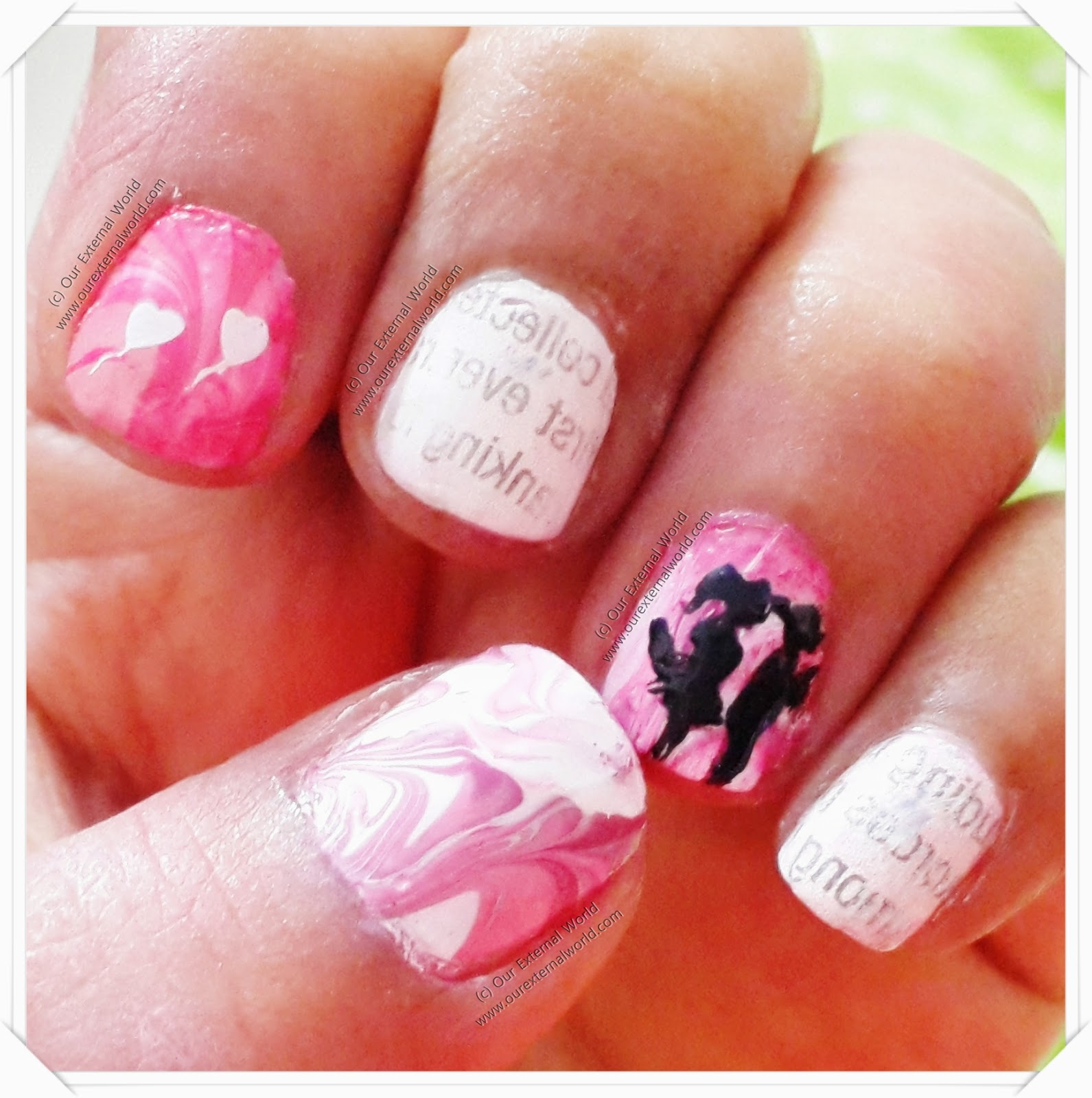Letters To Juliet - Movie Inspired Nail Art - Water Marble Nails