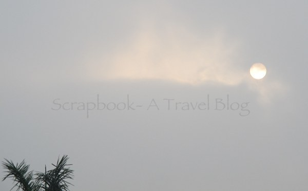 Grey sky and the dim sun at Ramabhar stupa Khushinagar Uttar Pradesh India