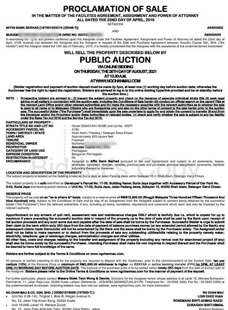 Proclamation Of Sale (POS) Rumah Lelong di Shah Alam