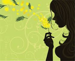 Foto di donna con mimosa
