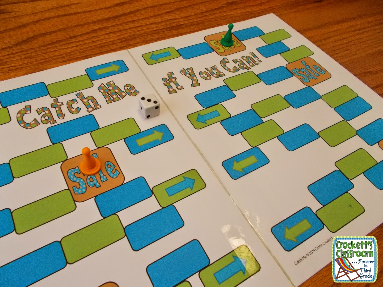 This super simple game can be used to review math facts, spelling words, or any other academic skill.  It's also a fun way to spice up your task cards.