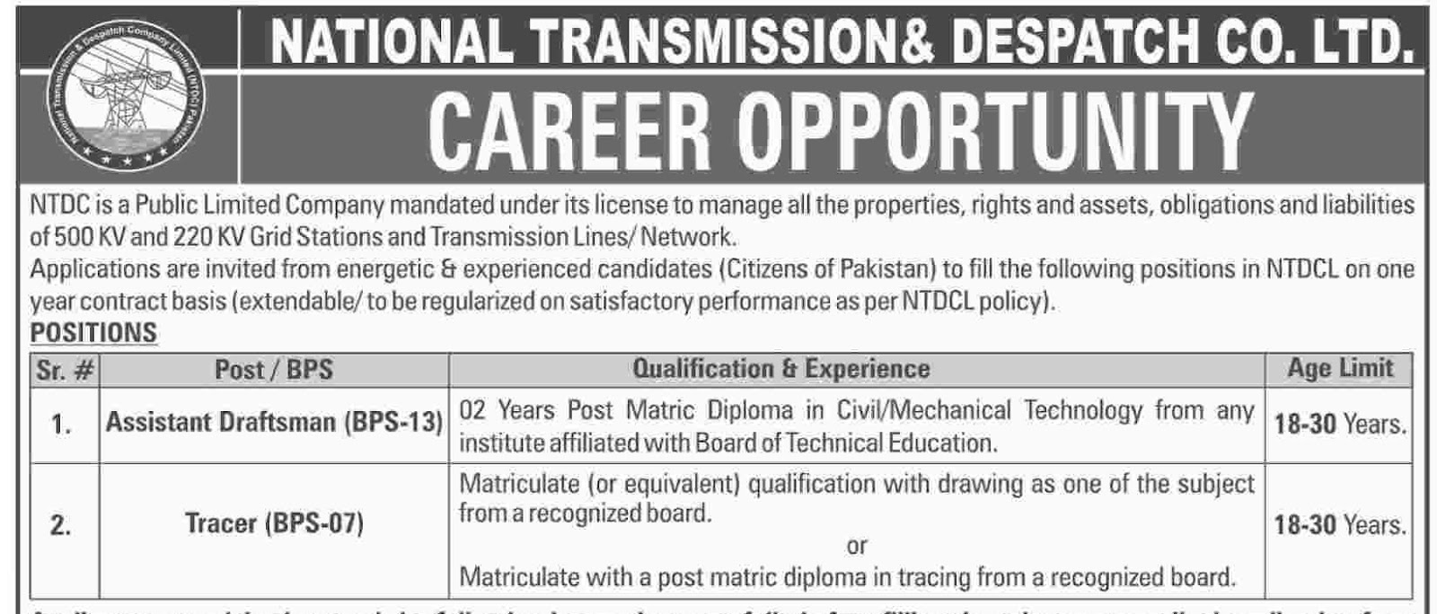 Jobs In National Transmission and Dispatch CO. LTD (NTDC)