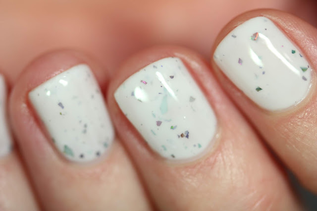 KBShimmer Knot Today swatch white crelly nail polish with multichrome flakes