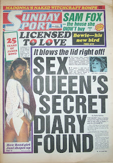 Vintage sunday sport newspaper front cover from 21st June 1987