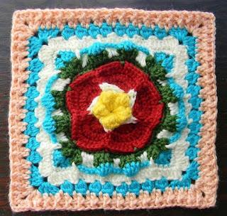 "Free Granny Square Crochet Pattern - Sea Flower 12"""