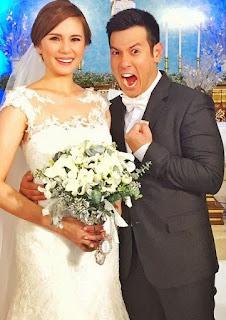 Isabel Oli in wedding dress with her husband John Prats