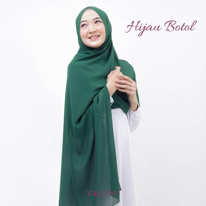 Yaumi Hijab Pashmina Hijau Botol