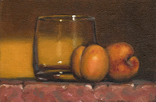 Still life oil painting of two apricots beside an old fashioned glass.