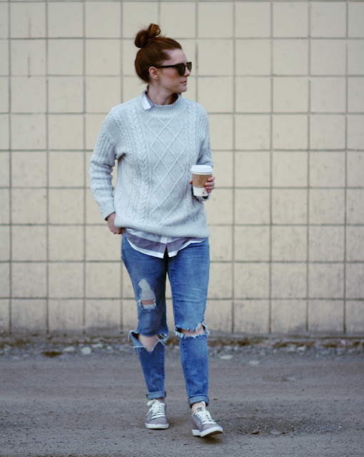 Winter layers with sneakers