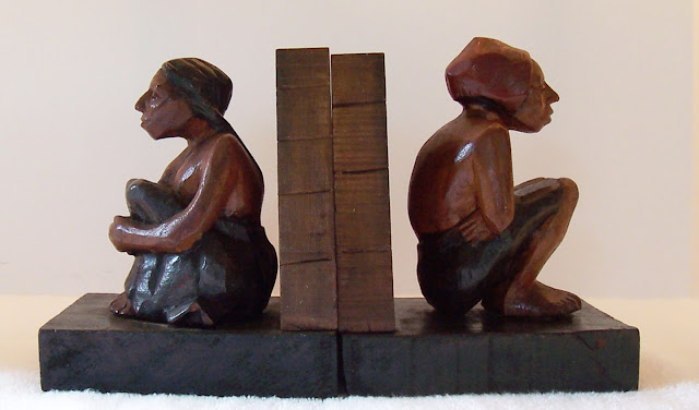 Carved Painted Wood Mesoamerican Couple Folk Art Bookends