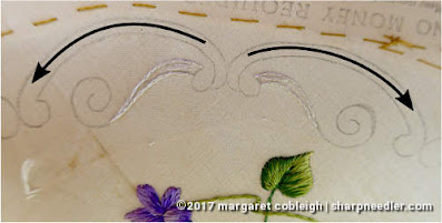 Society Silk Violets: stitch plan for embroidering the border