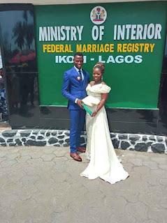 A couple having a court wedding