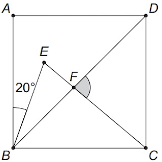 OBMEP 2019: Na figura, ABCD é um quadrado, a medida do ângulo ABE é 20° e EC = BC. Qual é a medida do ângulo DFC
