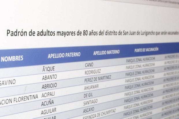 Covid-19: mira aquí el padrón para vacunar a mayores de 80 años de San Juan de Lurigancho