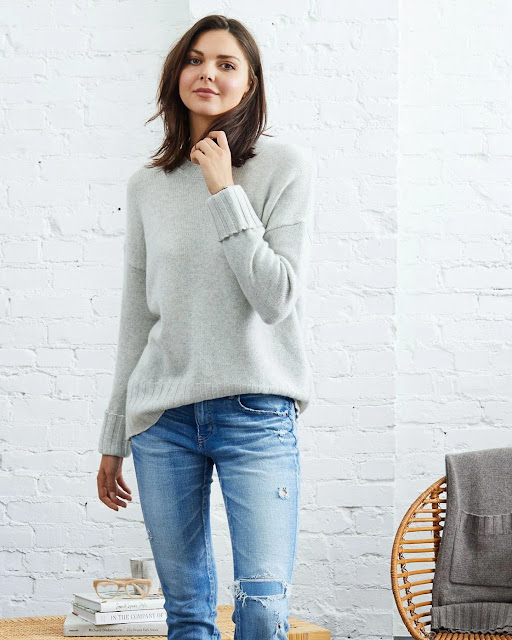 Woman wearing Mila Cashmere Crewneck Sweater from Not Monday