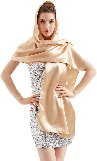 Gold Satin Shawls Wraps Scarfs for Evening Dresses