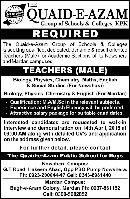 Teachers Jobs in Quaid E Azam Group of Schools & Colleges