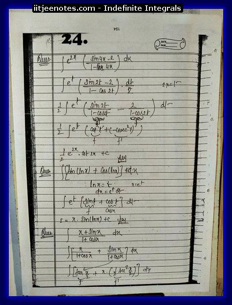indefinite integrals notes download
