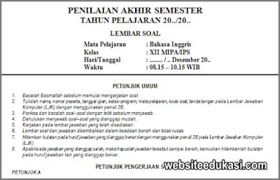 Soal Pas Bahasa Inggris Kelas 12 K13 Tahun 2020 2021 Websiteedukasi Com