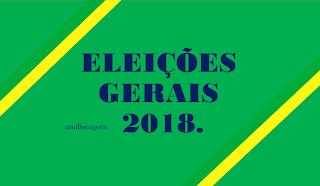A imagem nas cores do Brasil diz:eleições gerais de 2018.