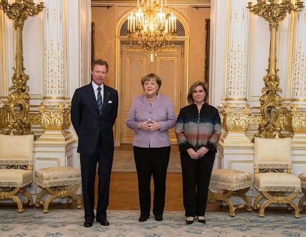Grand Duke Henri and Grand Duchess Maria Teresa  of Luxembourg met with German Chancellor Angela Merkel