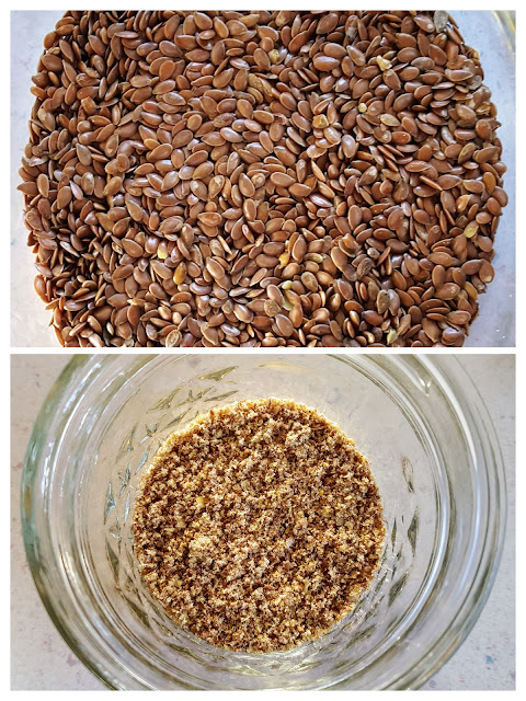 Image Description: Collage image: Top image - a downward facing image of whole flax seeds; Bottom image: a downward facing image of a small amount of ground flax seed in a glass jar.