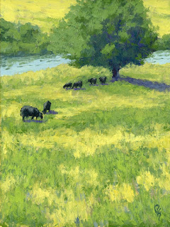 painting landscape rural cow cattle grazing field bear river