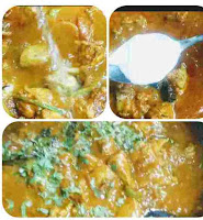 Pouring water and fresh cream into kadai chicken with chopped coriander leaves