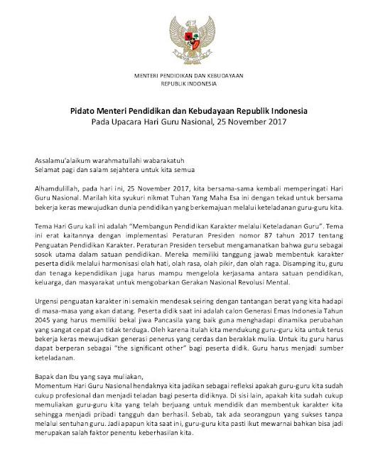 Pidato Mendikbud Pada Upacara Hari Guru Nasional 25 November 2017