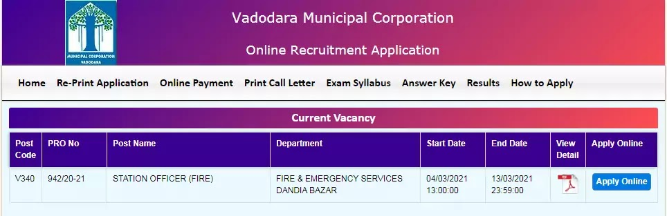 VMC Recruitment for Station Officer (Fire) Posts 2021