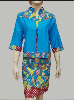 model baju batik kantor wanita kombinasi modern