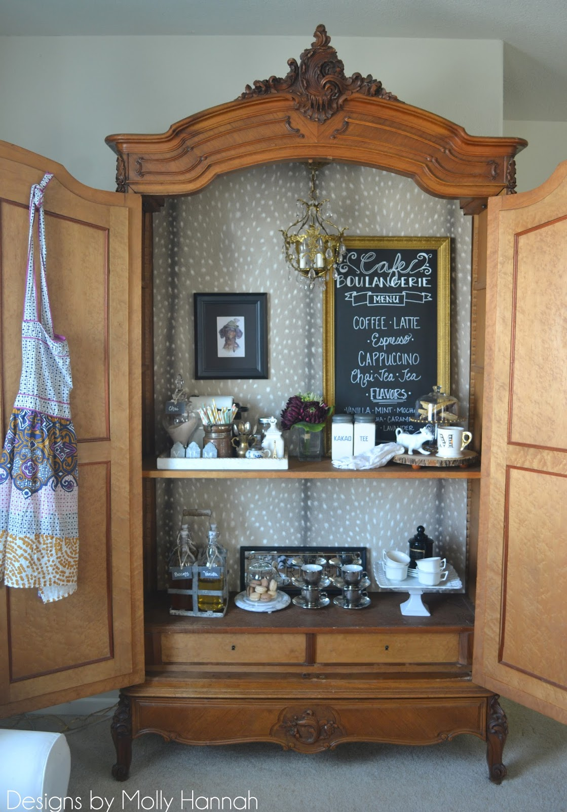 Espresso Bar Armoire Part Two Installing DIY Removable Wallpaper Backdrop