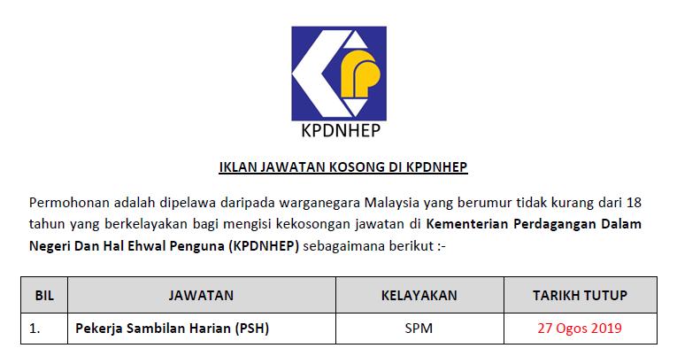 Jawatan Kosong Di Kpdnhep Pekerja Sambilan Harian Psh Jawatan Kosong Kerajaan Swasta Terkini Malaysia 2020 2021