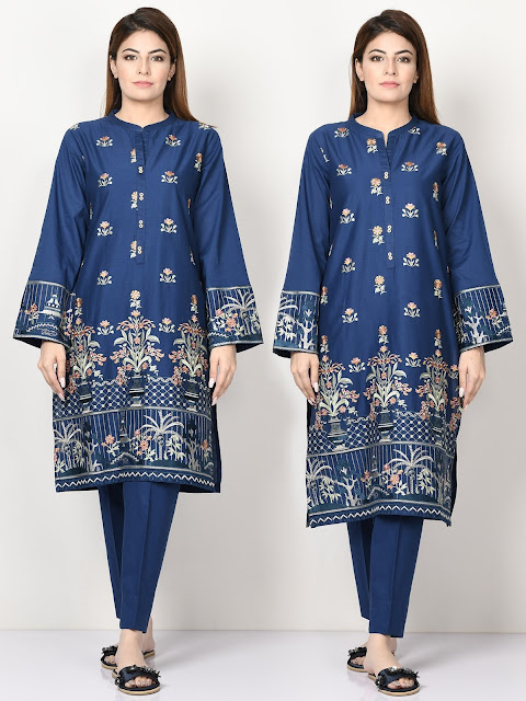 Limelight winter embroidered ready to wear cambric  blue dress with shirt and trousers