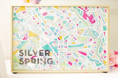 Image of a map of Silver Spring in a frame