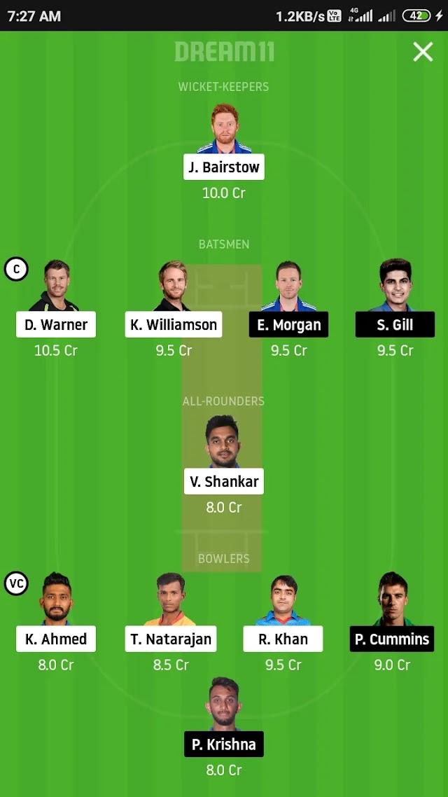 SRH VS KKR, match 35 fantasy 11 prediction and tips