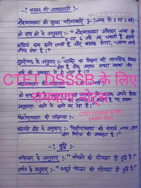Handwritten Notes For CTET DSSSB: For All Teachers Exam Hindi PDF Book