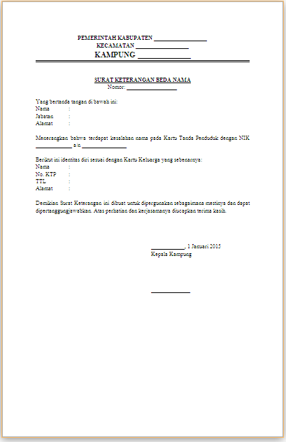 Surat Keterangan Beda Nama KTP dan KK