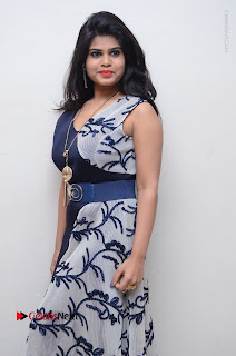 Telugu Actress Alekhya Stills in Blue Long Dress at Plus One ( 1) Audio Launch  0081.jpg