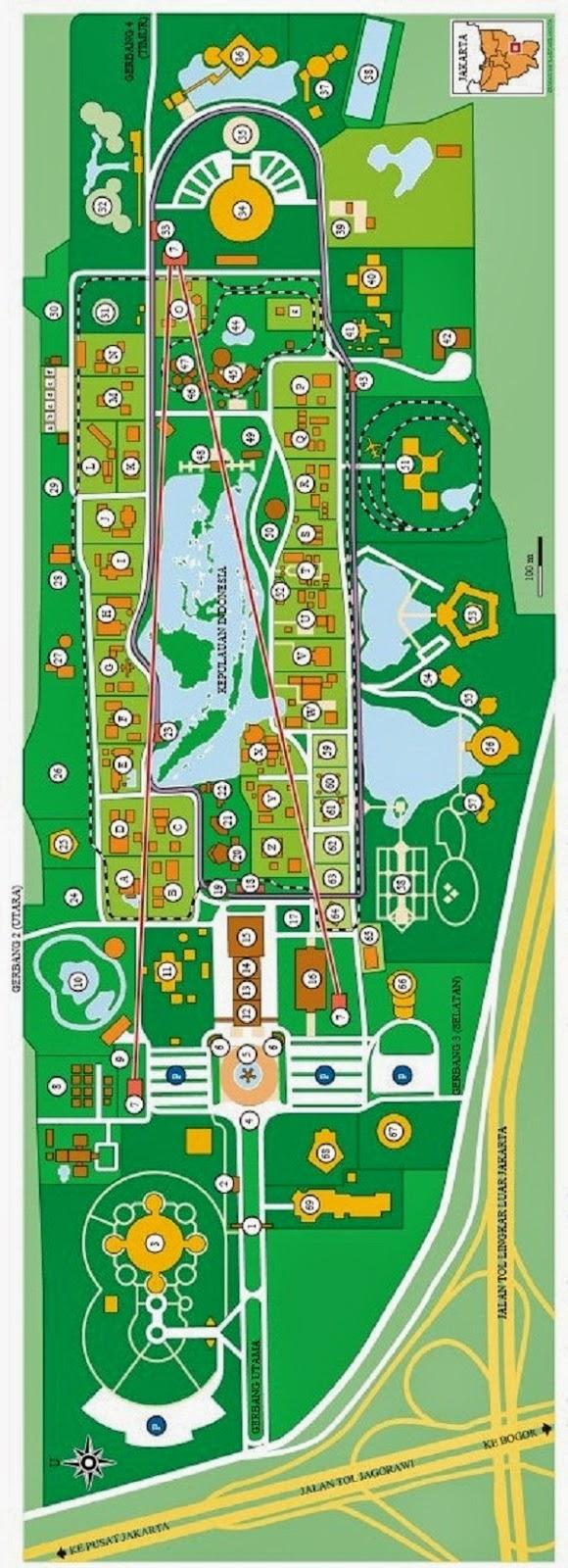Peta Panduan Wisata Taman Mini Indonesia Indah | TMII