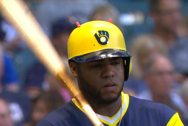 Jesus Aguilar Swedish Fish batting helmet