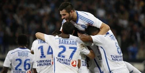 Niềm vui của các cầu thủ OM với chiến thắng trước Nantes