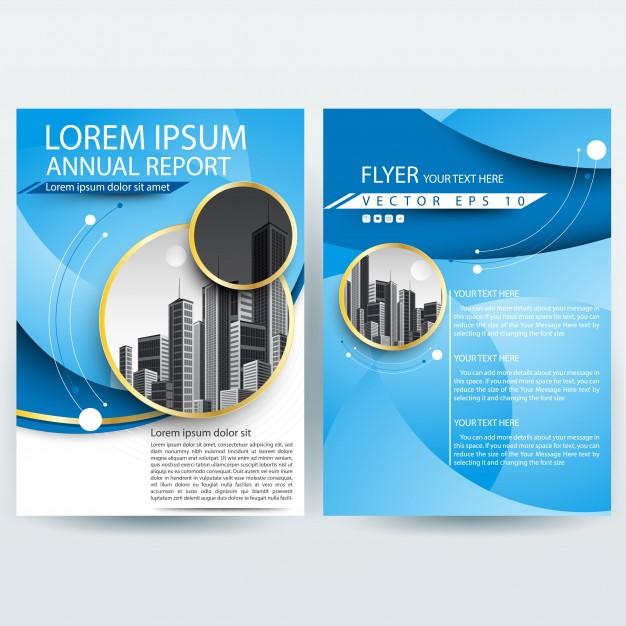 موقع بلال ار مصدرابداعك-Business brochure template with Blue Curve shapes Free Vector