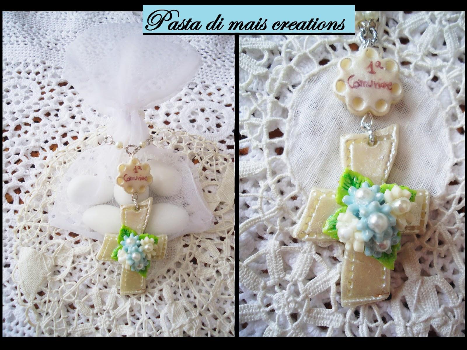Super Pasta di mais Creations : Bomboniera rosario con croce e fiori per  AW68