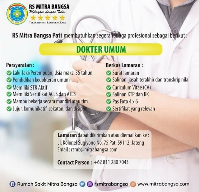 Loker Dokter RS Mitra Bangsa Pati, Jawa Tengah