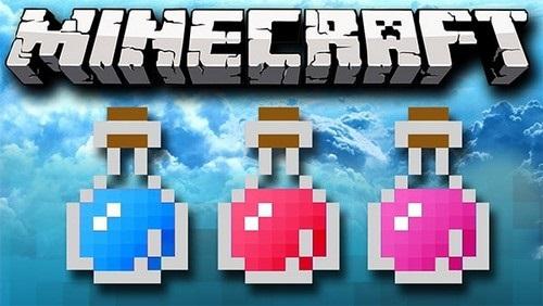 Các chai/lọ thuốc là nhân tố hóa trang rất hấp dẫn làm tăng thêm sự lôi kéo của Game Minecraft